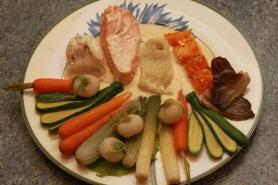 Blanquette de poisson de mer, aux petits légumes printaniers