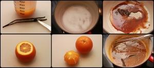 Pressez le jus d'oranges, Récupérez les graines de vanille, mettre en cuisson le caramel, Pelez les oranges à vif,