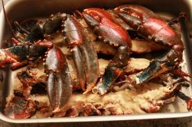 Enfournez les homards avec les pinces, préalablement cassées.