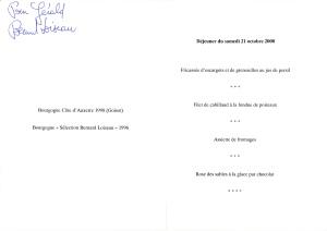 Menu de Bernard LOISEAU_Octobre 2000