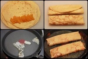 Disposez les segments d'orange, repliez les crêpes, les réchauffer, et flambez au Grand Marnier.