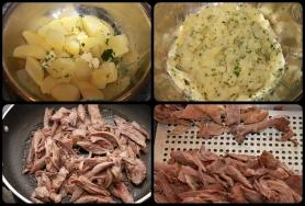 Cuire les pommes de terre à l'anglaise, sautez effiloché de canard.
