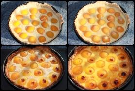 Versez l'appareil à flan dans le moule, disposez les oreillons d'abricots, saupoudrez de sucre de canne.