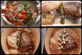 Colorez l'aiguillette, blanchir le pied de veau et la couenne. Mouillez avec la marinade et le fond de veau.