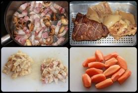 Rissolez les lardons, les champignons. Cuire à brun les oignons grelots, ainsi que les carottes. Coupez le pied de veau et la couenne.