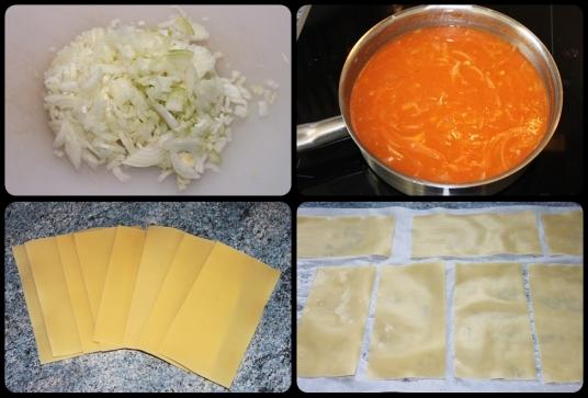 Mettre en cuisson la sauce tomates, précuire les lasagnes.