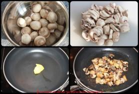 Brosser les champignons de Paris, les sauter avec un peu de graisse de foie gras de canard.