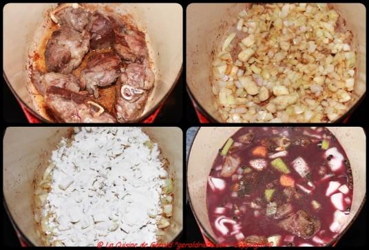 Colorer la viande, suer les oignons, singer de farine, mouiller avec le liquide.
