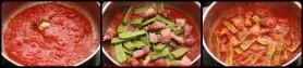 Cuire la concassée de tomates, ajouter les cocos et couvrir.