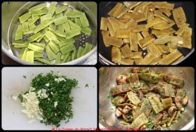 Cuire les cocos à la vapeur, les sauter dans une noisette de beurre, ajouter le jambon de Pays.