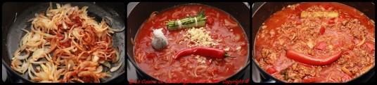Suer les oignons, ajoutez les coulis de tomates, le piment, le bouquet garni.