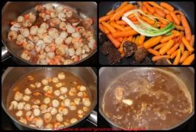 Sautez les pétoncles, réchauffez les carottes, les morilles, la cébettes. Finir la sauce.