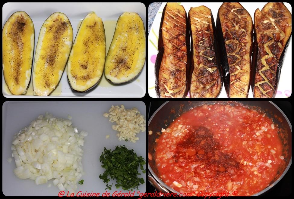 Cuire les aubergines, préparez, la concassée de tomates au paprika.