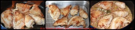 Faire colorer le poulet sur toutes les faces. Flambez au Calvados.