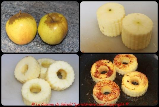 Épluchez les pommes, les citronner les découpez avec un emporte-pièce, les sautez avec du beurre clarifié.