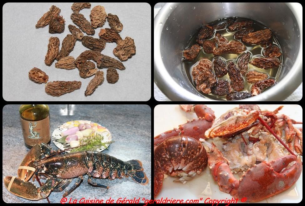 Trempez les Morilles, ébouillantez le homard dans 6 lt d'eau.