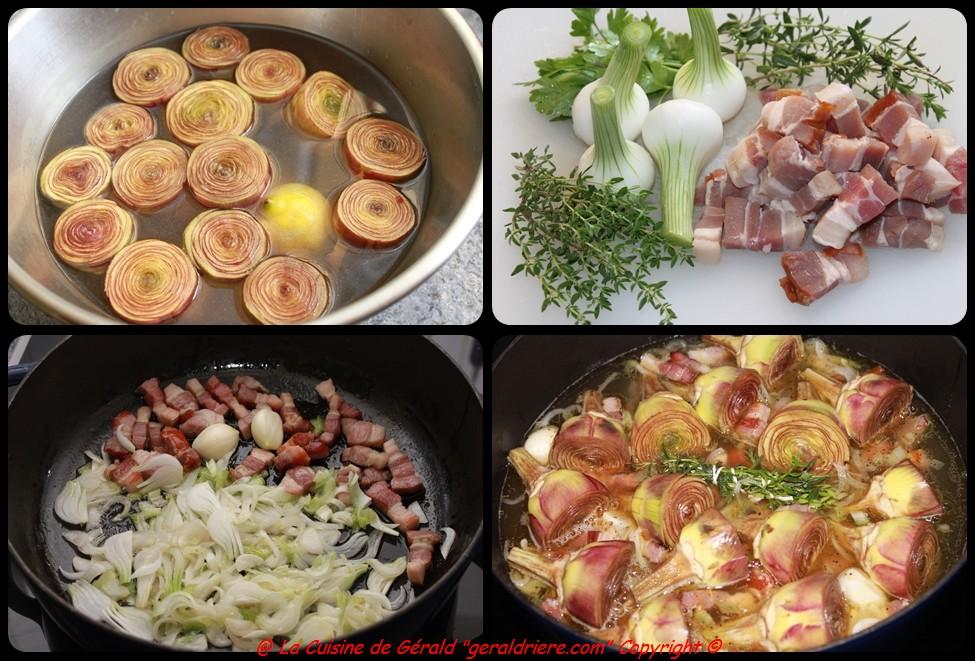 Tourner les artichauts, ciseler les oignons, blanchir le lard, mettre en cuisson  dans le sautoir.